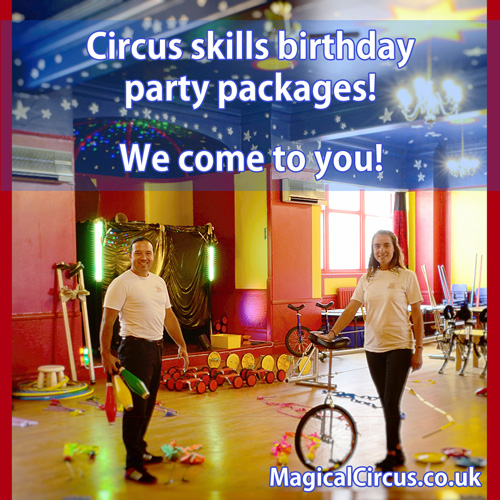 Circus skills children's parties.