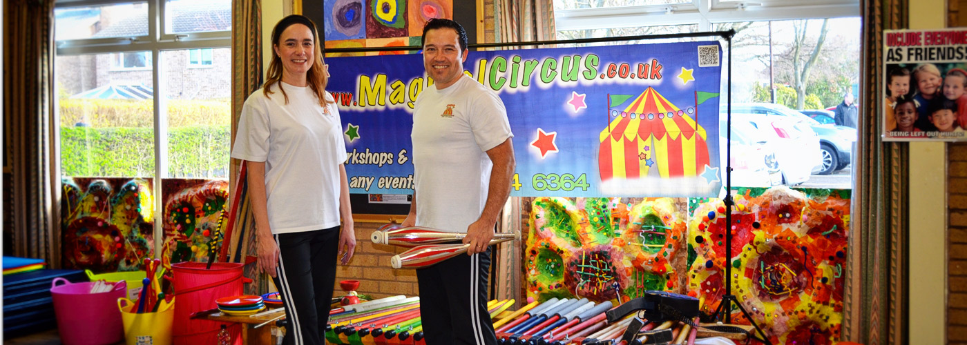 Magical Circus circus skills at Brackenwood Primary school.